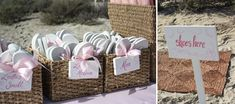 Flip flops for guests at a beach wedding