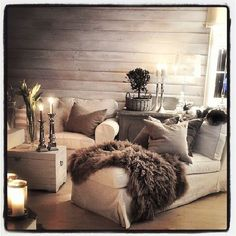 Basically perfect. #cozy #bedroom #livingroom#interior #design #grey #candle #lighting#throwblanket #villapaprika