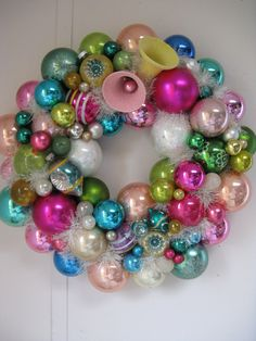 shiny brite ornament wreath 16 inches sugar by rivertownvintage