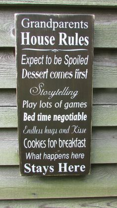 Grandma Quotes Discover country home decor family rules sign wood signs Grandparents sign primitive home decor wood signs family rules gift for gradparents Primitive Signs, Primitive Homes, Country Primitive, Primitive Antiques, House Rules Sign, Family Rules Sign, Quote Family, Rustic Signs, Wooden Signs