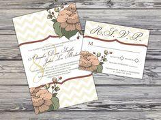 Wedding Invitation & RSVP Card - Pink Floral Peony - Printable