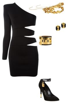 """""""~Night Out~"""" by kelseymooney ❤ liked on Polyvore featuring Balmain, Tom Ford, Jennifer Behr, Hermès and Chanel"""