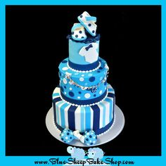 Baby Blue, White and Navy Blue Baby Shower Cake with Stripes, Dots & Onesies with Baby Shoes Topper