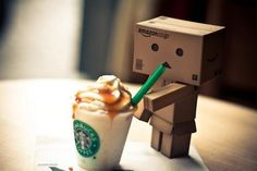 For the love of Starbucks ...even an Amazon box robot knows how to get his fix