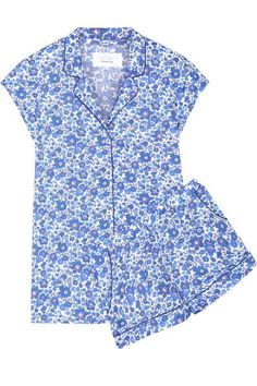 Three J NYC - Olivia Floral-print Cotton-poplin Pajama Set - Blue