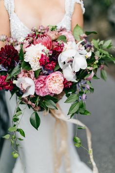 pink red and white organic wedding bouquet