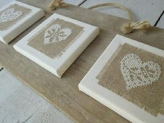 Here's a cute idea for finishing/presenting your stitch-a-hugs to friends. Attach them to small canvases for hanging.