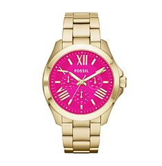 Fossil® Women's Olive Cecile Watch in Goldtone with Pink Dial available at @Boston Store.