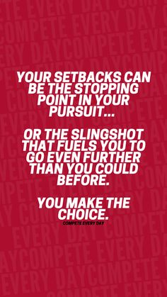 Use your setback to slingshot you farther forward than you ever could have before! Positive Motivation, Slingshot, Comebacks, Competition, Motivational Quotes, Motivating Quotes, Quotes Motivation, Motivation Quotes, Motivational Words