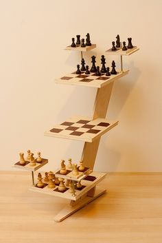 Tridimensional wooden Chess Set (3D Star Trek Chess) #StarTrek #chess
