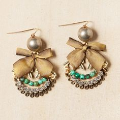 Yellow Ochre Bow Earrings With Turquoise And Rhinestones