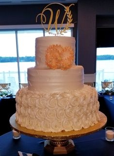 Calumet Bakery Rosette and Textured frosting with Peony Wedding Cake