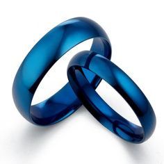 Gemini His & Her 's Dome Blue Polish Promise Couple Wedding Titanium Ring Set Width 6mm & 4mm Men Ring Size : 6.5 Women Ring Size : 11 Valentine's Day Gifts