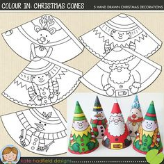 Christmas Craft: Colour In Christmas Cones Christmas Craft: Colour In Christmas Cones Easy Christmas Cone craft for kids! Just print, cut out and colour in! Christmas Cones printables from Kate Hadfield Designs Jon Haber - Preschool Christmas, Noel Christmas, Christmas Activities, Christmas Crafts For Kids, Christmas Printables, Christmas Colors, Christmas Projects, Simple Christmas, Holiday Crafts