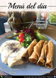 Flautas vegetarianas + Puré de coliflor con chía