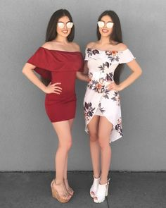Pin by Esmeralda on Moda De Amigas ❤ Nude Outfits, Twin Outfits, Matching Outfits, Outfits For Teens, Cute Dresses, Beautiful Dresses, Olive Clothing, Best Friend Outfits, Princess Ball Gowns
