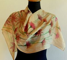Silk scarf,hand painted Silk scarf,women silk scarf,unique silk scarf,artistic silk,flowers silk scarf,small scarf,Pure silk,gift for her Painted Silk, Hand Painted, Forest Plants, Small Scarf, Silk Painting, Pure Silk, Beautiful Hands, Silk Flowers, Womens Scarves