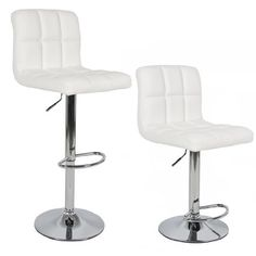 """Modern Set of (2) Brand New White Swivel Leather Bar Stool Pub Barstools by Sky Enterprise USA. Save 25 Off!. $74.95. Pneumatic adjustable height, 26""""-44"""". 360 degree swivel action. White PU leather. Rubber ring bottom. These modern and innovative chairs provide unparalleled quality that enables you to express your personal style in a fresh and exciting way. You will benefit from these chairs whether it's for your dinning room, living area or just for entertainment.  FEATURES: Sty..."""