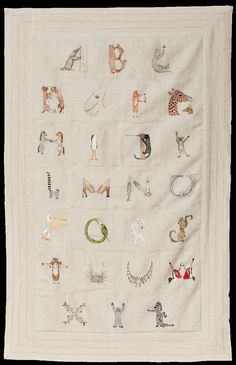 Alphabet Decorative Quilt / Founded in 2007 by Stephanie Housley, a textile designer, and her husband, Chris Lacinak, Coral & Tusk in Williamsburg, Brooklyn, specializes in embroidered wearables and objects for the home. This padded linen quilt is based on Ms. Housley's animal illustrations. It measures 32 by 50 inches.