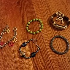 Misc bracelet set 5 miscellaneous bracelets in all styles and colors. Barely worn. Jewelry Bracelets