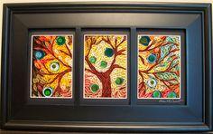 Framed Quilled Paper Fine Art Tree Sky.