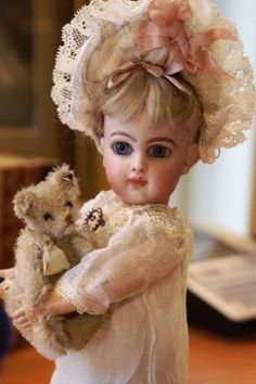 "Scrumptious Tiny 9"" E1J Blonde with Spiral Blue Eyes from bebesatticfinds on Ruby Lane"