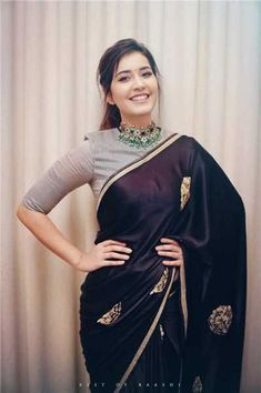 Bollywood,Tollywood news,events, actress gallery,photos Silk Saree Blouse Designs, Fancy Blouse Designs, Blouse Neck Designs, Black Saree Blouse, Grey Blouse, Sari Design, Sari Dress, The Dress, Indian Designer Outfits