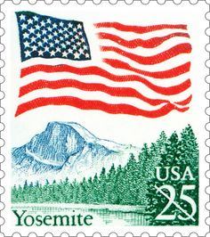 The 1988 Flag Over Yosemite Definitive Stamp Is A Departure From Similar Stamps Which Had