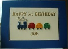 Children's birthday card, train personalized quilled handmade. £7.00, via Etsy.
