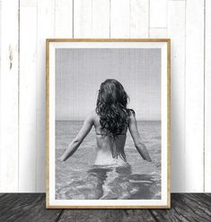 Beach Art Photography, Black and White, Modern Coastal Photo Wall Art Decor, Woman in Ocean Photo Beach Theme Wall Decor, Wall Art Decor, Coastal Art, Modern Coastal, Frames On Wall, Framed Wall Art, Texture Art, Beach Art, State Art