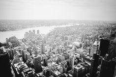 New York City skyline. Fog.