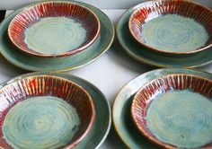 Rustic Ceramic Plates in Red and Green Glazes by sheilasart