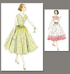 SUPER VINTAGE RETRO VOGUE 50'S FIFTIES FULL CIRCLE DRESS PATTERN NEW / UNCUT | eBay