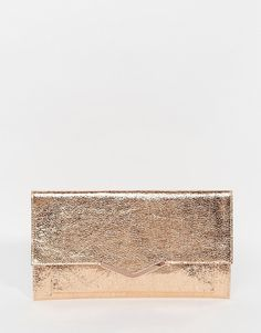Image 1 ofASOS Metallic Slim V Bar Clutch Bag