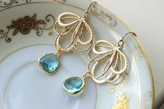 Aquamarine Earrings Gold Feather Aqua Blue   Bridesmaid by laalee, $34.00