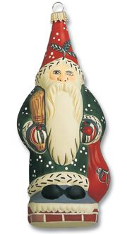 Santa on chimney with toy sack from Vaillancourt Folk Art