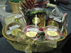assorted fudge and brittle baskets
