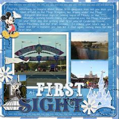 At first sight Disney Scrapbook Pages, Travel Scrapbook, Scrapbook Cards, Scrapbooking Ideas, Scrapbook Layouts, Downtown Disney, Walt Disney, Disney Style, Disney Love
