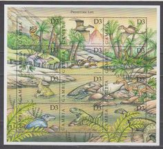 Gambia 1997 prehistoric animals dinosaurs fauna klb MNH