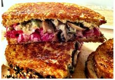 """VEGETARIAN """"REUBEN""""... Shrooben. Use vegan cheese. I'm interested in the pickle/cabbage formula instead of kraut."""