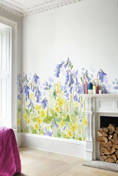 A pretty woodland frieze, giant scale bluebell, primrose and honeysuckle flowers - this mural is designed to decorate the bottom of the wall.
