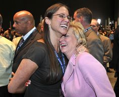 Hartford--Senate Candidate Linda McMahon gets a big hug from her daughter, Stephanie Levesque as votes were coming in giving her a lead over Christopher Shays at the Republican convention in Hartford. Peter Casolino/New Haven Register (SHE LOST) Linda Mcmahon, Stephanie Mcmahon, Mcmahon Family, Republican Convention, Wwe Couples, Female Wrestlers, Total Divas, Big Hugs, Professional Wrestling