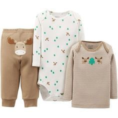 Child of Mine by Carter's Newborn Baby Boy Top, Bodysuit, and Pant 3-Piece Outfit Set Moose Brown/Green