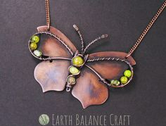 Hand sawn copper sheet butterfly necklace