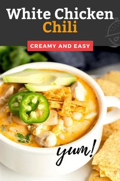 This White Chicken Chili is one of the most delicious, hearty comfort food dishes ever! This White Chicken Chili recipe is loaded with tender chicken and white beans cooked in a creamy and tasty broth. #chicken #creamy #easy #recipe #soup Turkey Recipes, Fall Recipes, Soup Recipes, Chicken Recipes, Creamy White Chicken Chili, Lemon Blossoms, Party Food And Drinks, Recipe Videos, Soup And Sandwich