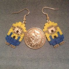 Minions Earrings perler beads by AteBits