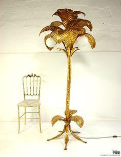 freeform solid hollywood regency style metal 70s palm-tree floor lamp