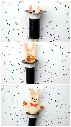 DIY Rabbit In The Hat Pop-Up Puppet ⋆ Handmade Charlotte post_tags] Fun Crafts For Kids, Art For Kids, Rabbit In A Hat, Origami Diy, Circus Crafts, Paint Stirrers, Magic Theme, Magic Crafts, Magic Hat