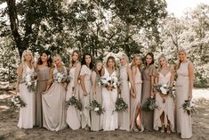 Chic Tulsa Barn Wedding at Dream Point Ranch These bridesmaids wore mis-matched neutral dresses for a very elegant look Bridesmaid Dresses Under 100, Champagne Bridesmaid Dresses, Mismatched Bridesmaid Dresses, Bridesmaid Dress Colors, Wedding Bridesmaids, Burgundy Bridesmaid, Bridesmaid Duties, Bridesmaid Makeup, Bridesmaid Proposal