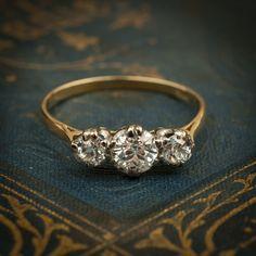 Antique Vintage Trilogy Diamond Engagement Ring